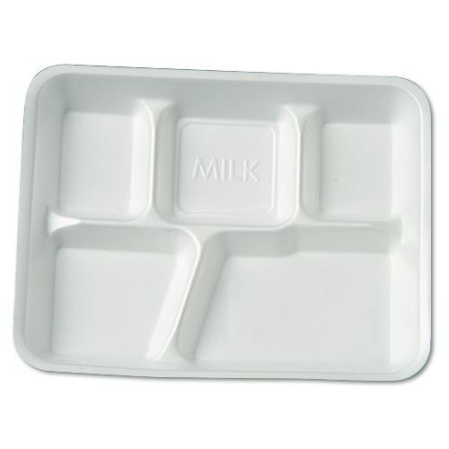 Genpak Five-Compartment Foam School Food Tray SKU#GNP10500, Genpak Five-Compartment Foam School Food Tray SKU#GNP10500